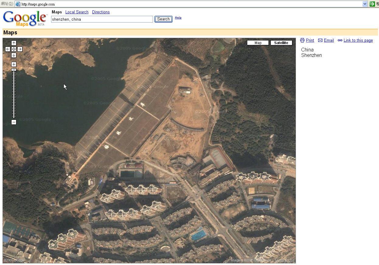 > google卫星地图可以清晰看到台湾的城市楼房.