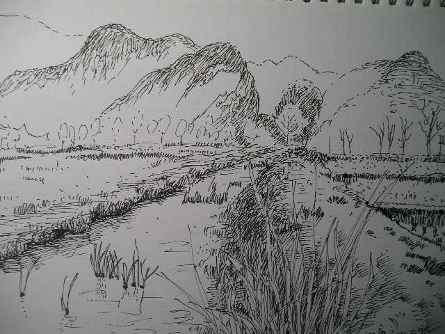 速写,钢笔风景速写写生图片,简单速写风景写生图片,山水风景速
