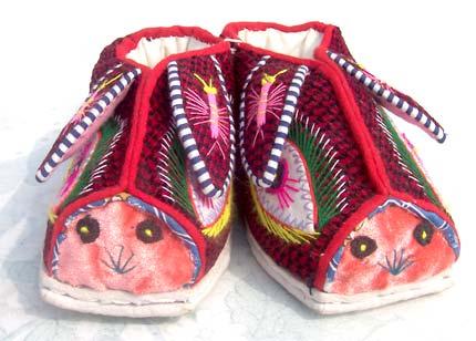 手工编织棉鞋兔子图案