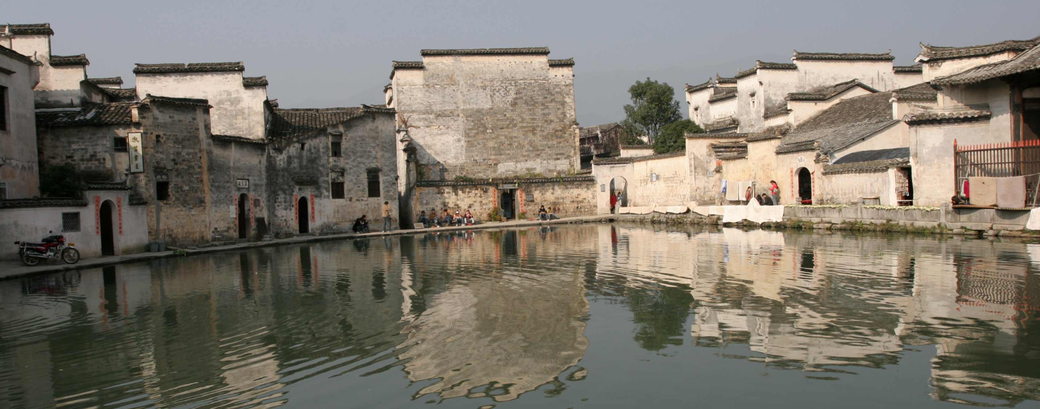 牛胃 宏村的中心 深秋的江南水乡 高清图片