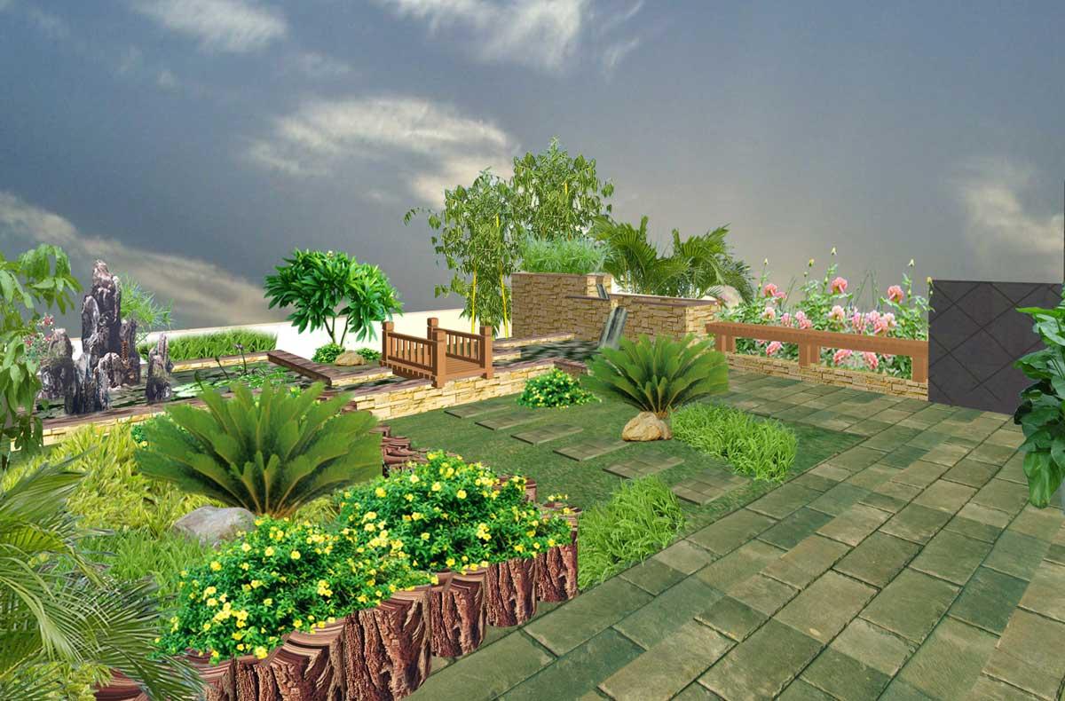 > 专业设计/施工 (别墅花园.屋顶花园.入户花园.阳台造景.)