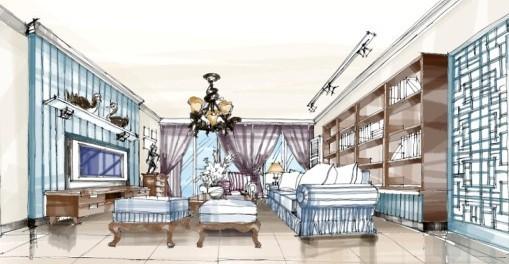 这是大厅的手绘图图 这些都是设计