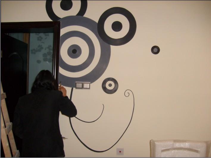 大幅黑白墙绘图案素材