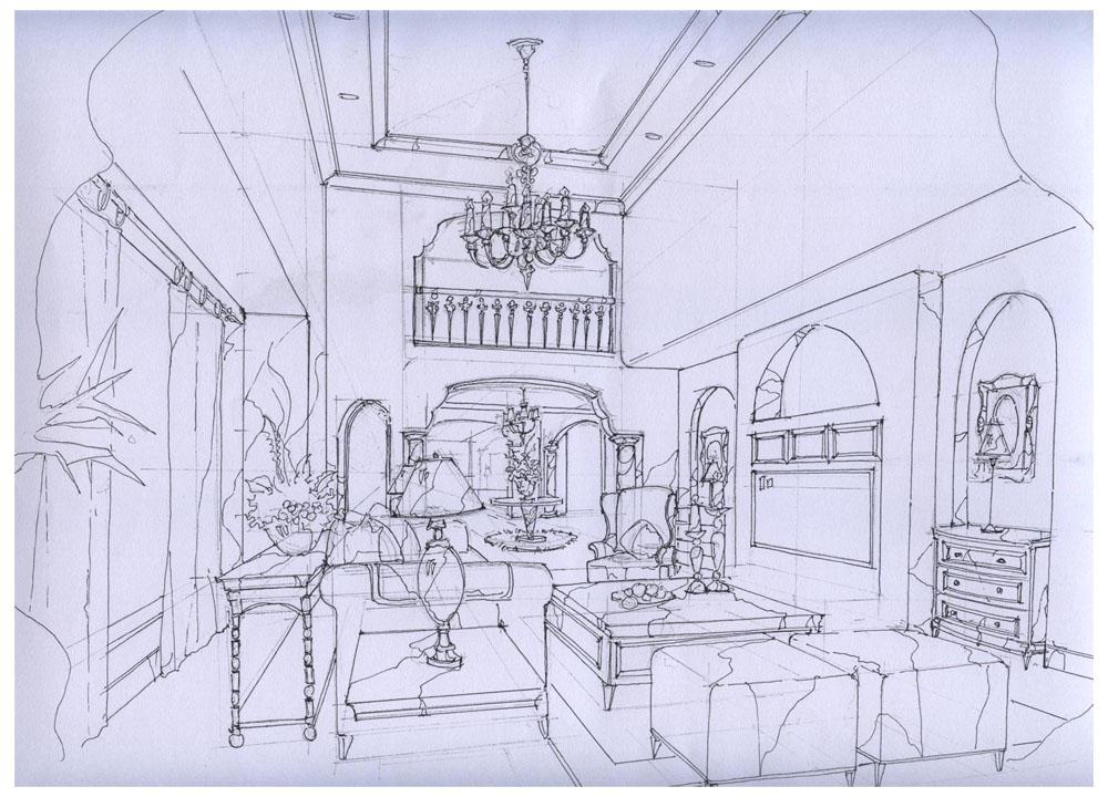 欧式庭院两点透视手绘