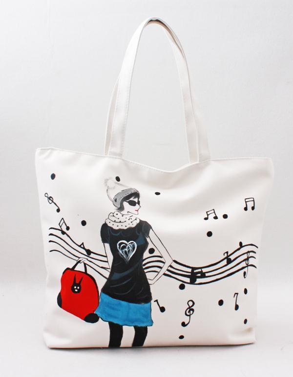 手绘包包 帆布包 音乐时尚 涂鸦