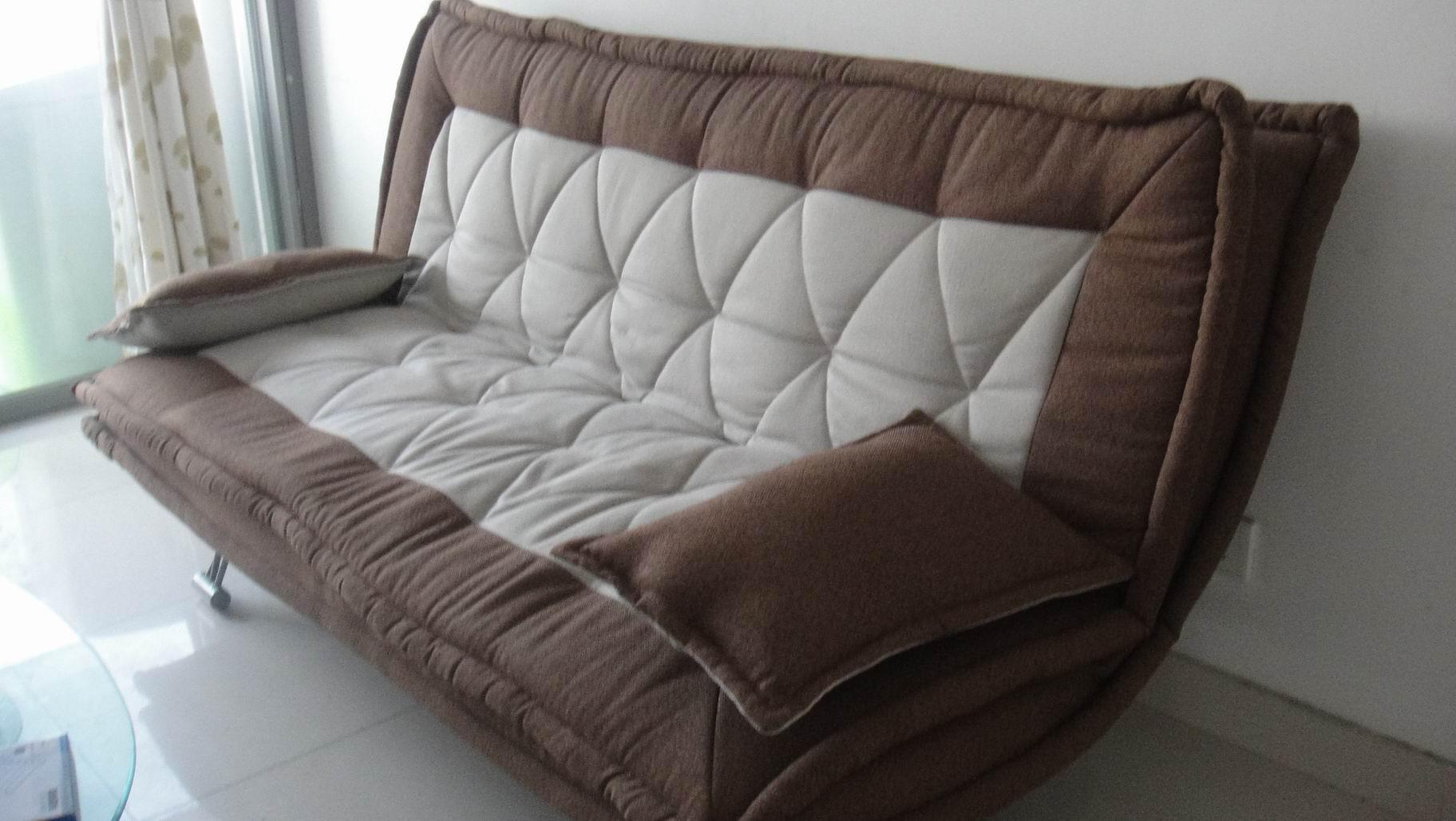 [转让]转让金海马床垫&布料双人沙发床&玻璃双层茶几