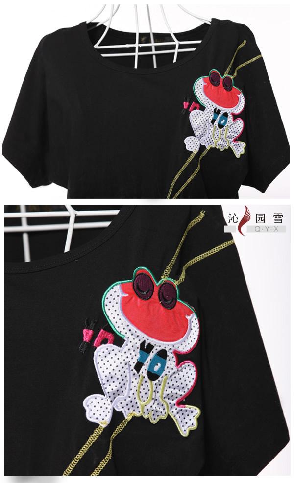 简单大方的青蛙手工图案纯棉t恤