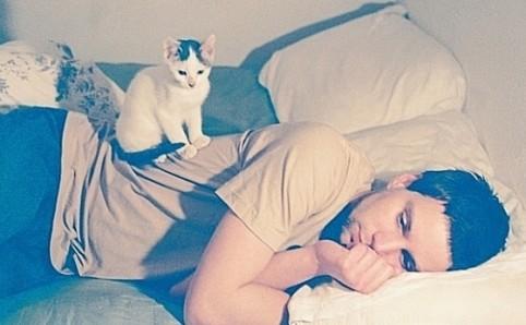 男生躺着抱黑猫的头像