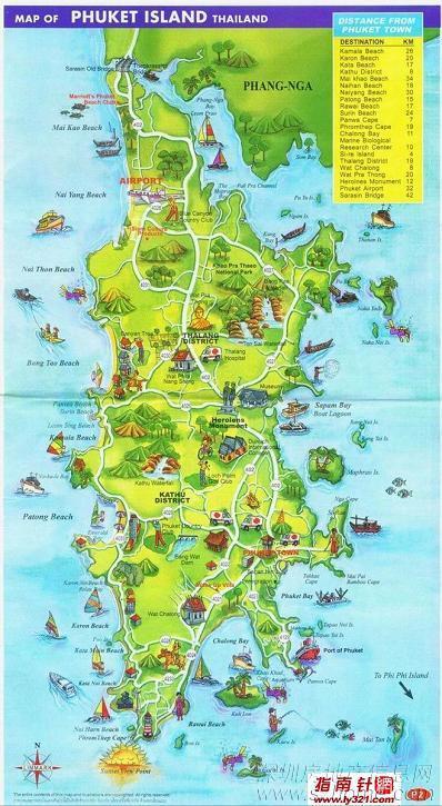 泰国普吉岛旅游地图-北京青年; 泰国普吉岛旅游;         普吉岛手绘