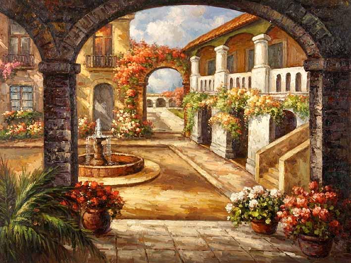 风景油画*花园景 客厅玄关走廊装饰画 无框画 大芬手绘油画gds059