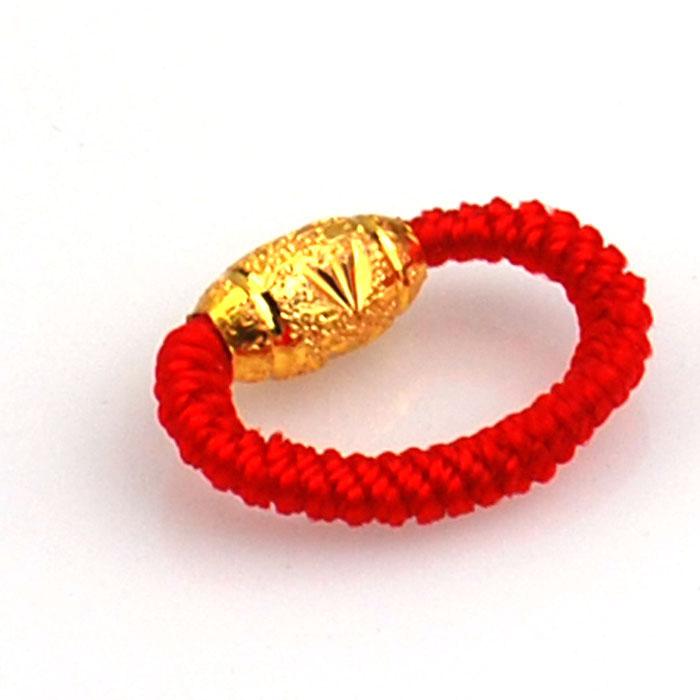 情侣红绳手编转运珠戒指