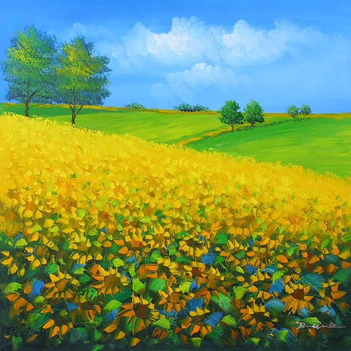 向日葵风景图片手绘
