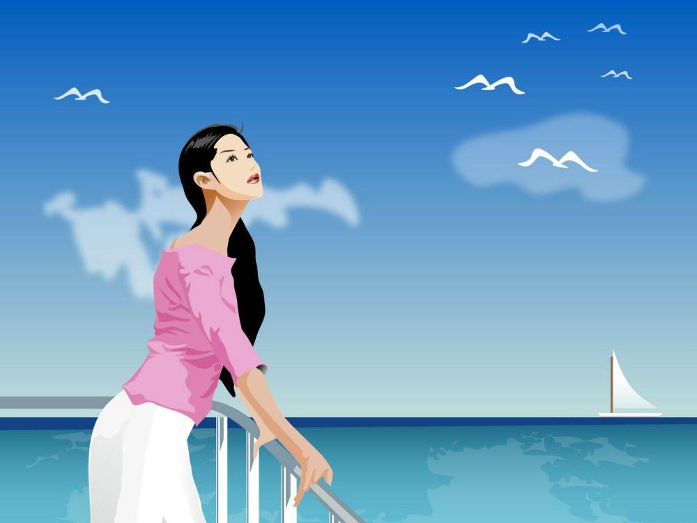 珍藏海边风景漫画图,有比基尼美女哟
