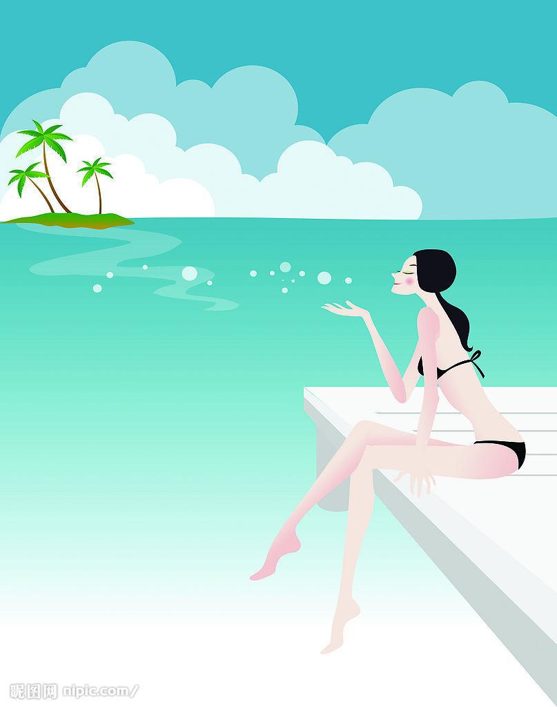 珍藏海边风景漫画图 有比基尼美女哟