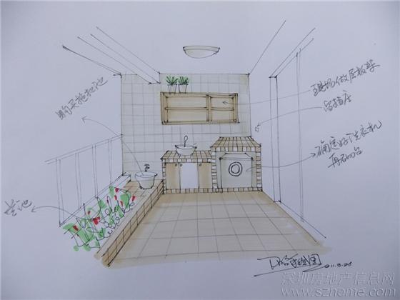最后一张手绘效果图,大阳台