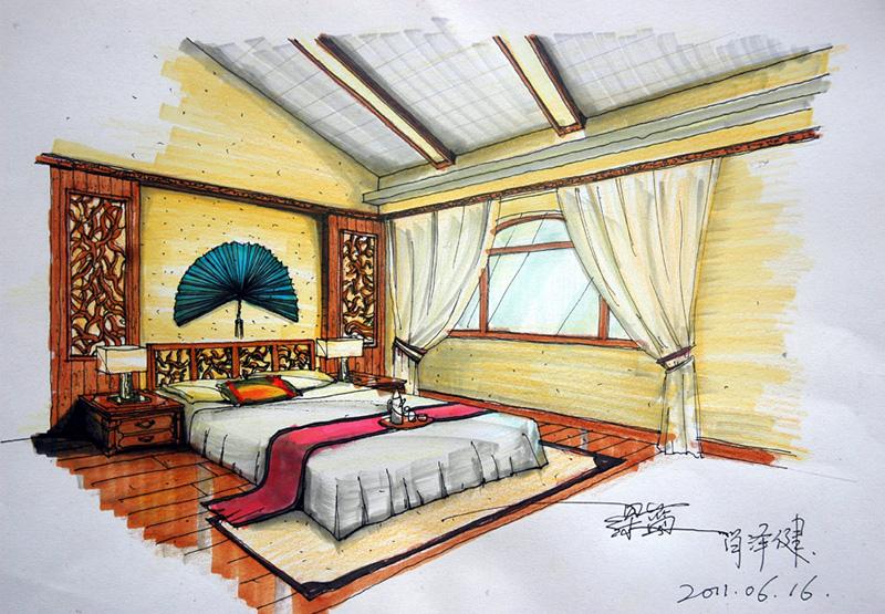 手绘图现代简约卧室