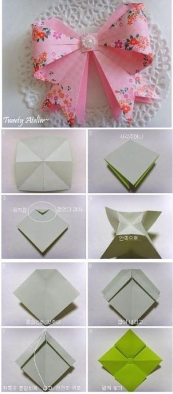 手工折纸百合花步骤蝴蝶结