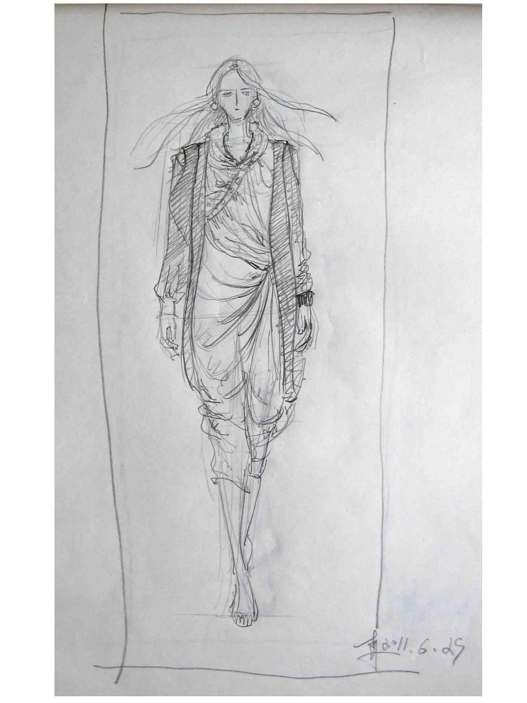 铅笔时装画手绘图