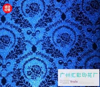 蓝色花纹墙布贴图