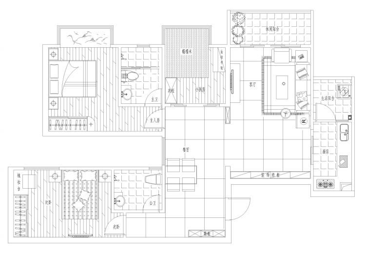 120平方三房两厅平面设计图展示