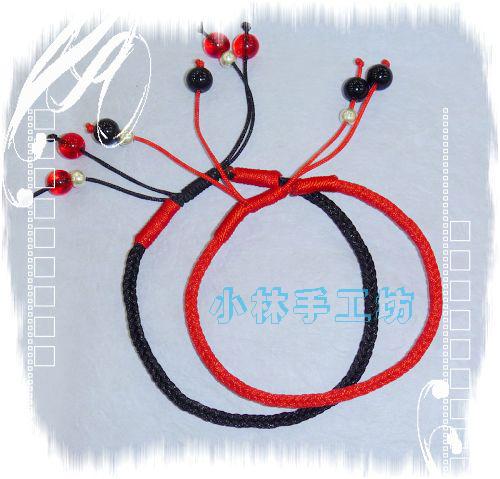 中国结手机链编法图解陈腔滥调编红绳情侣手链; 斜卷结 红绳宽手链 红