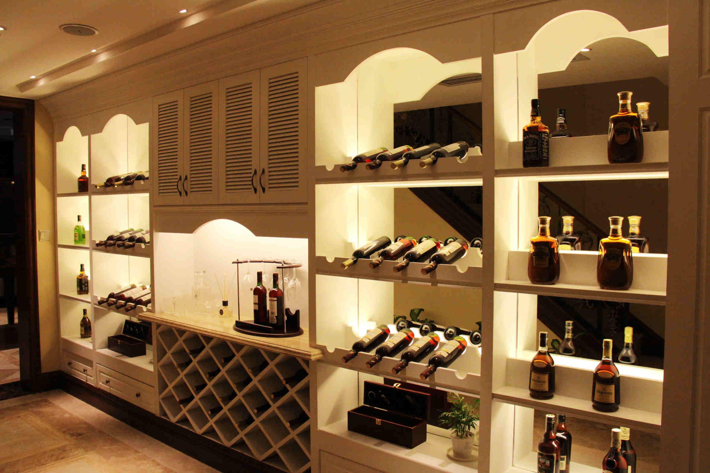 家用欧式酒柜吧台一体装修效果图