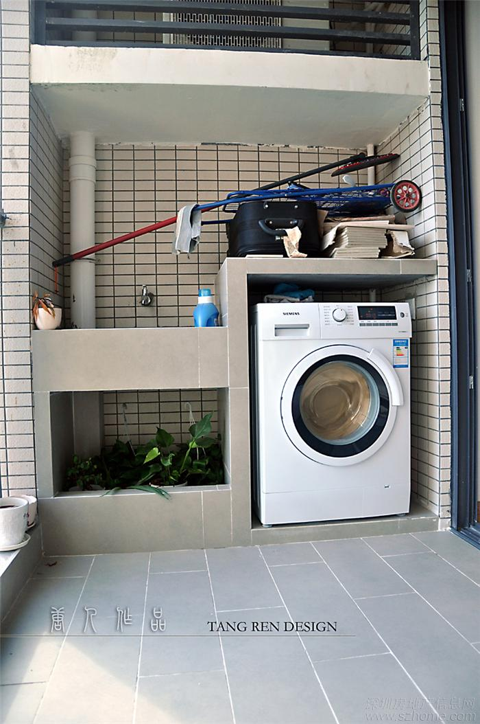 砌阳台洗衣池装修效果图