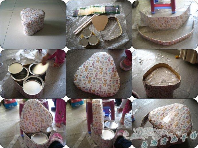 以3个奶粉罐凳子为例简单介绍一下制作过程
