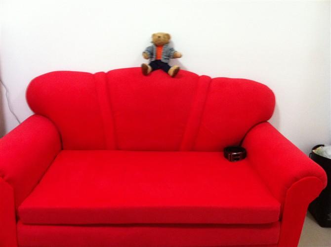 欧式布艺沙发两人座,红色