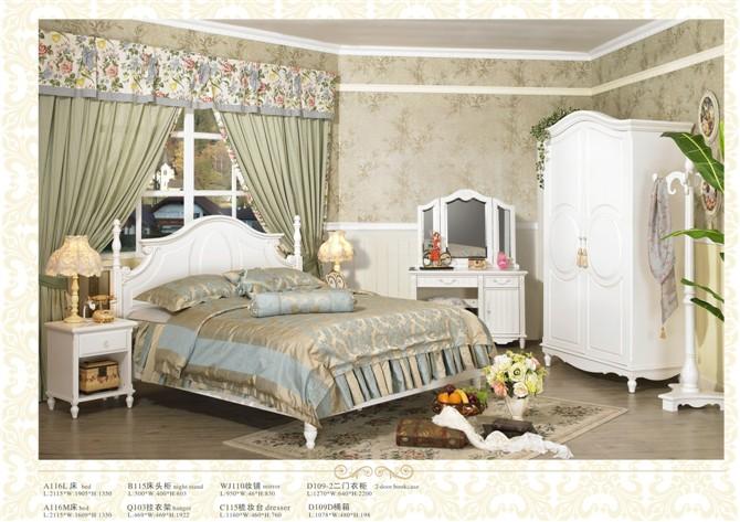 田园家具→白色/欧式/现代家具  a116l床,伊卡兰的做旧
