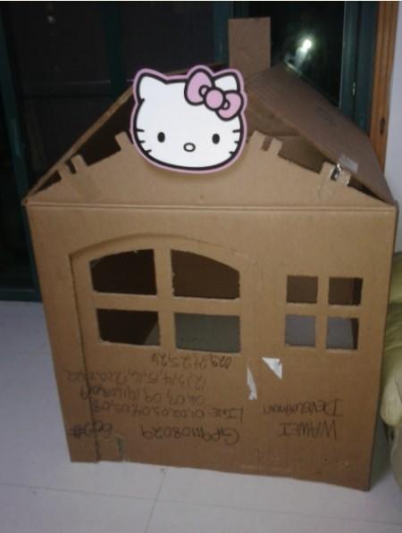 给我女儿做的纸箱房子