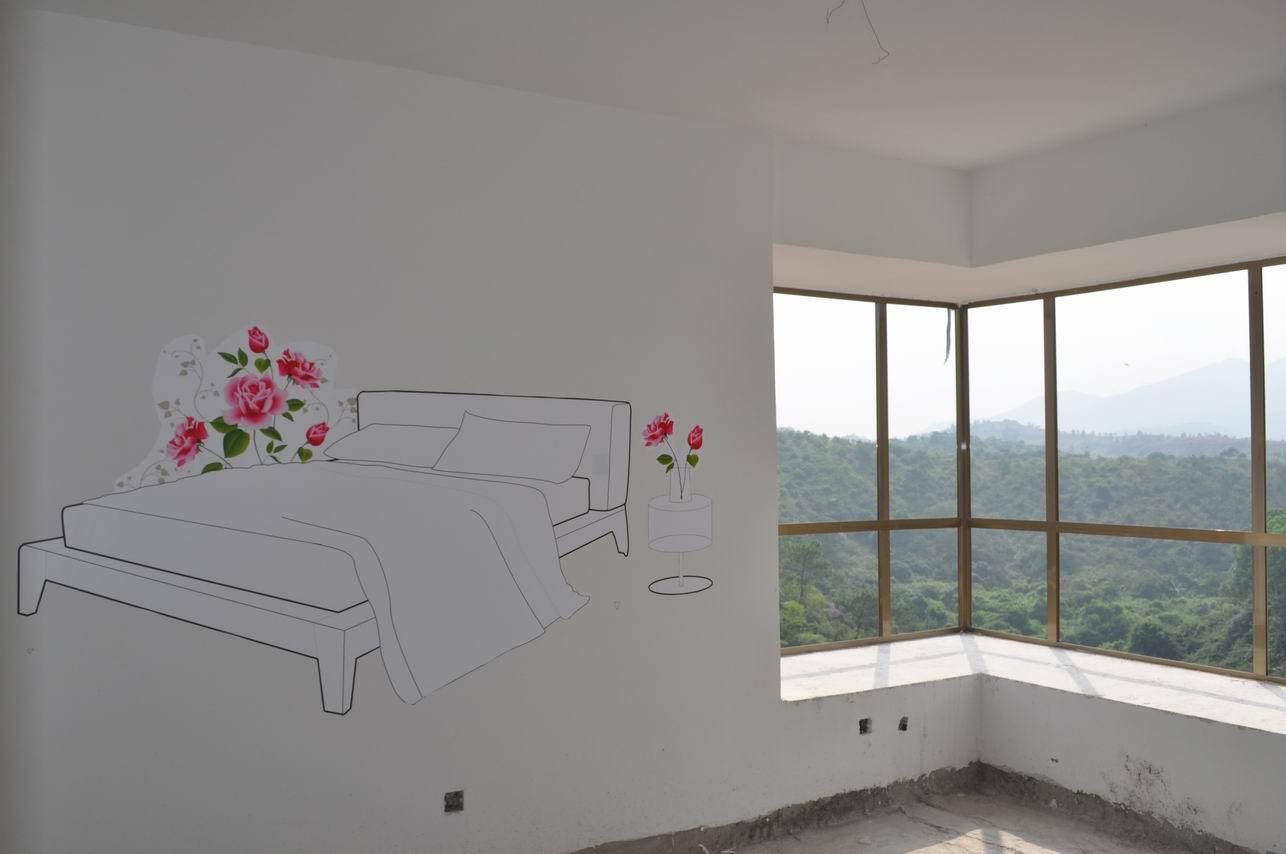 毛坯房的清新手绘墙