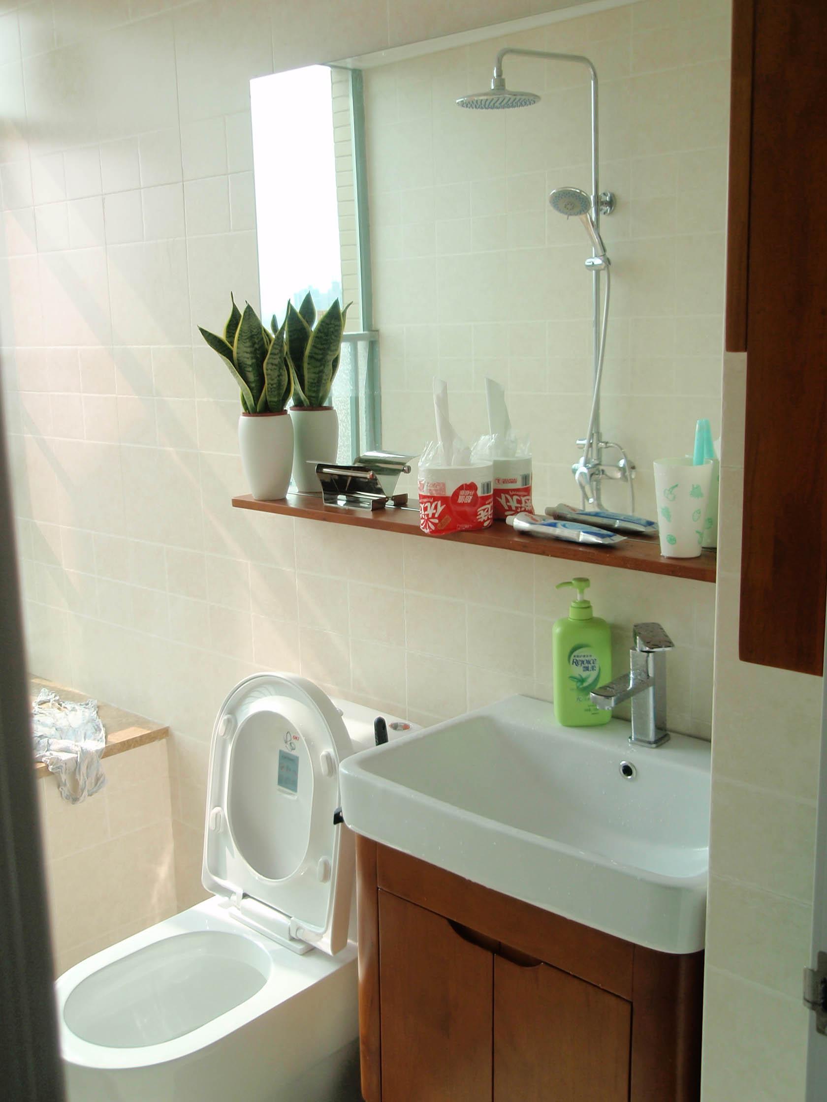 小厕所的马桶和镜子排放图片