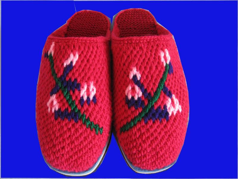 纯手工毛线拖鞋