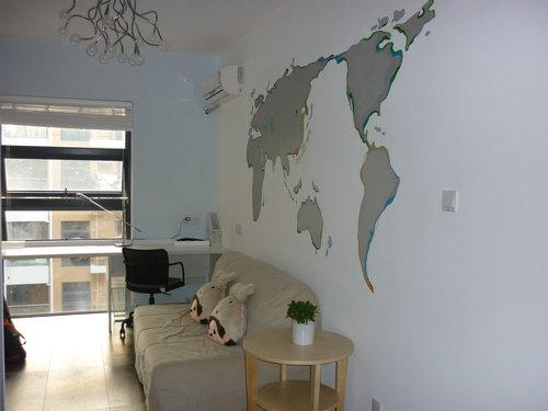 墙面手绘地图